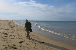 Walking on the deserted beach at Race Point