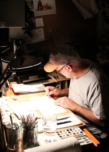 Ollie at drawing board 2012